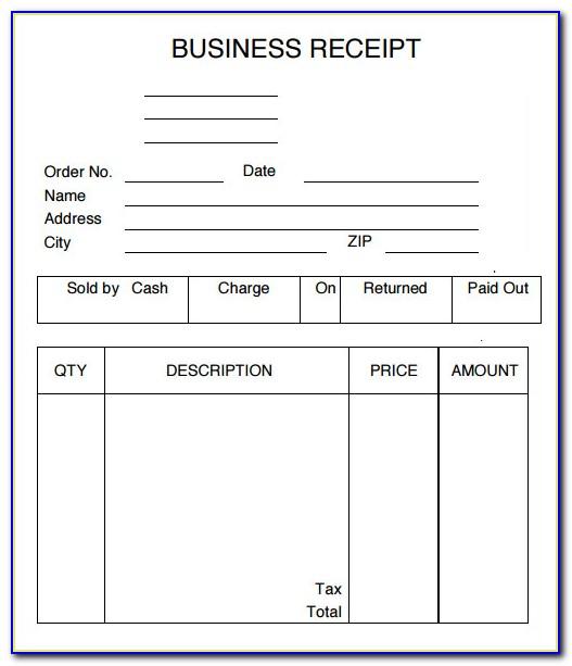 Business Sales Receipt Template
