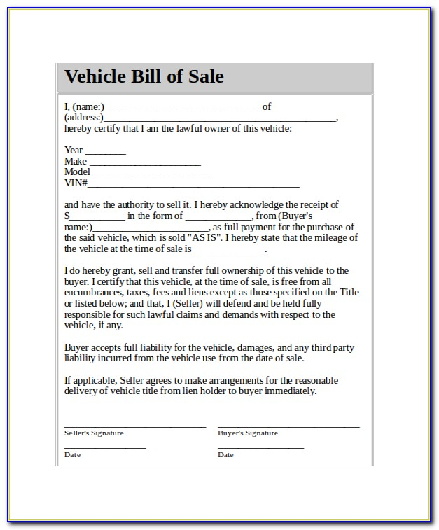 Car Bill Of Sale Template Word Document