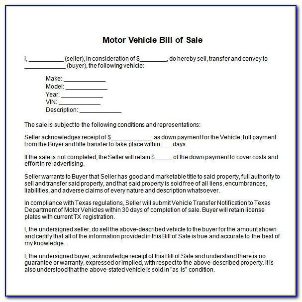 Car Bill Of Sale Template Word Uk