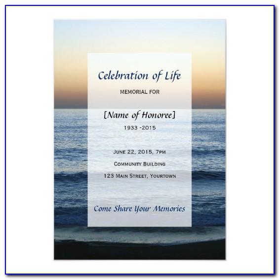 Celebration Of Life Program Template Free