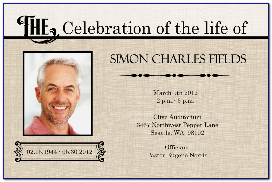 Celebration Of Life Template Publisher