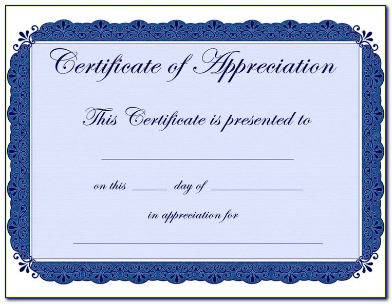 Certificate Of Appreciation Templates Editable