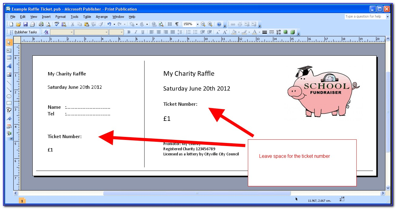 Christmas Raffle Ticket Template Word