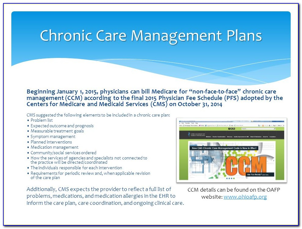 Chronic Disease Management Care Plan Template
