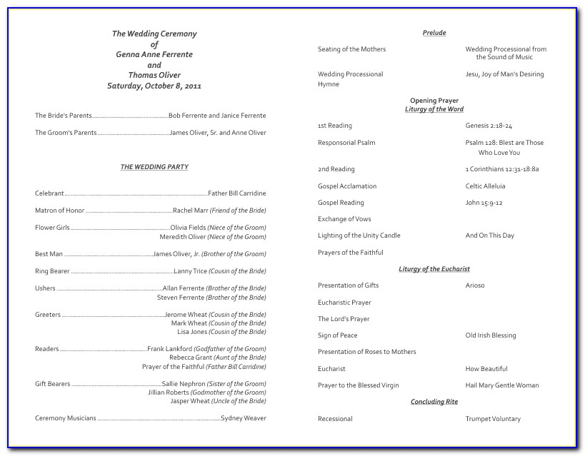 Church Wedding Program Samples