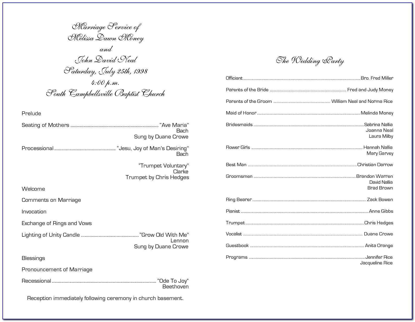 Church Wedding Program Template Word