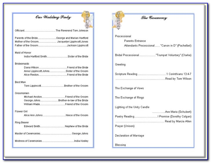 Church Wedding Program Templates Free