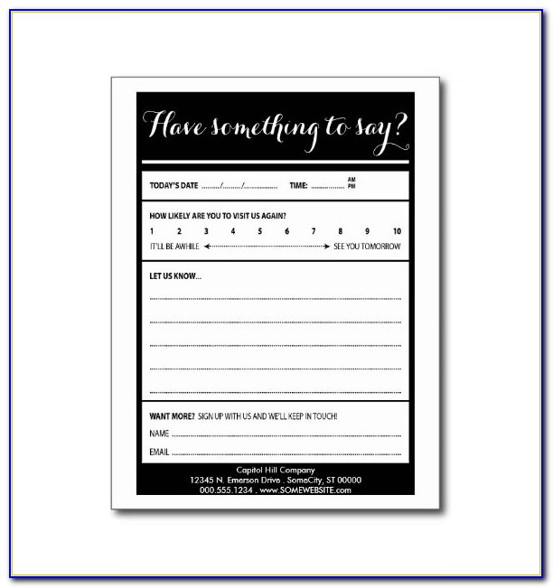 Comment Card Template Excel
