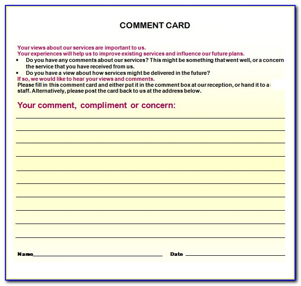 Comment Card Template Publisher