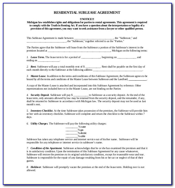 Commercial Lease Agreement Format In Word