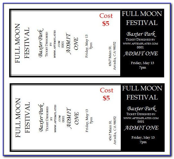 Concert Ticket Gift Template Free