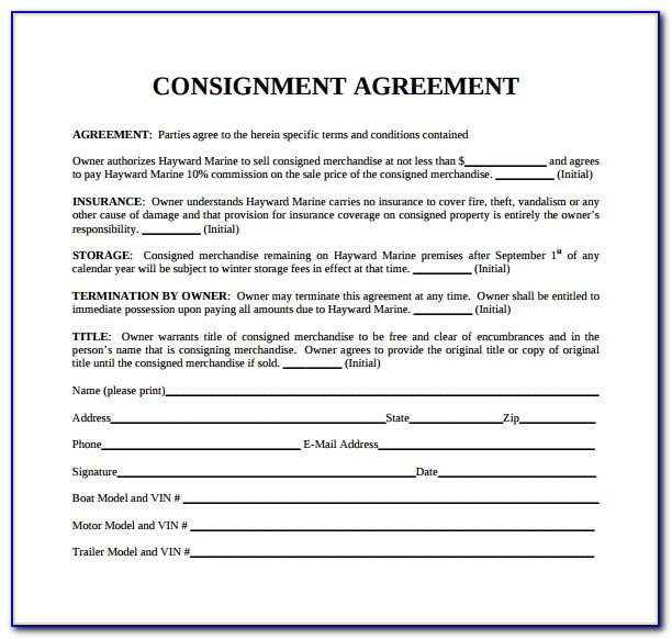 Consignment Agreement Template Canada