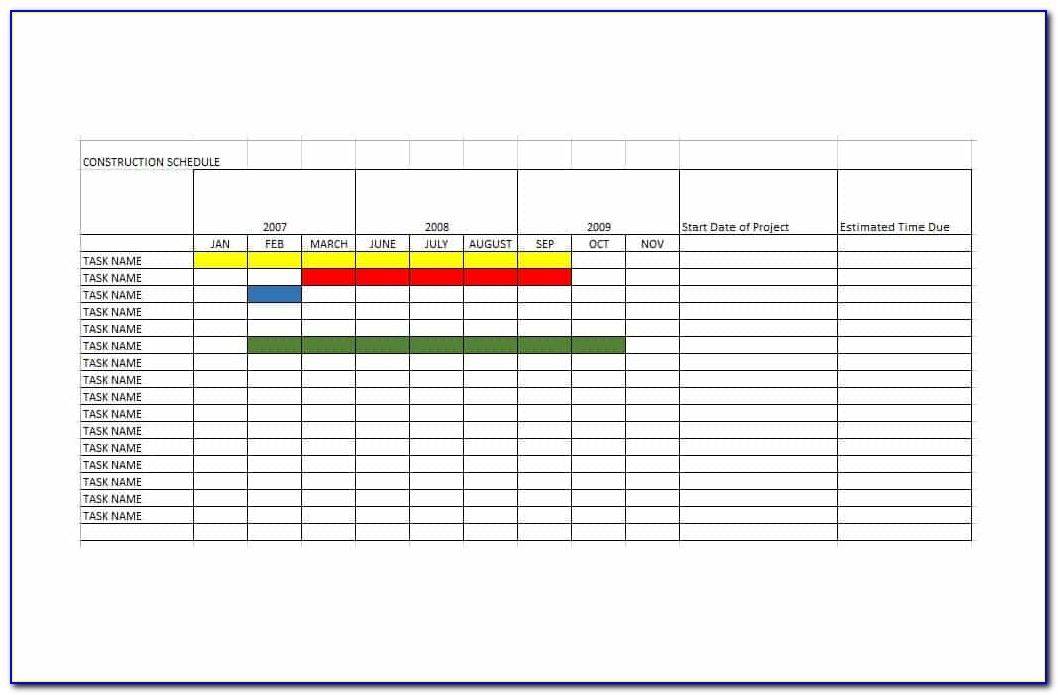 Construction Planner Template Excel
