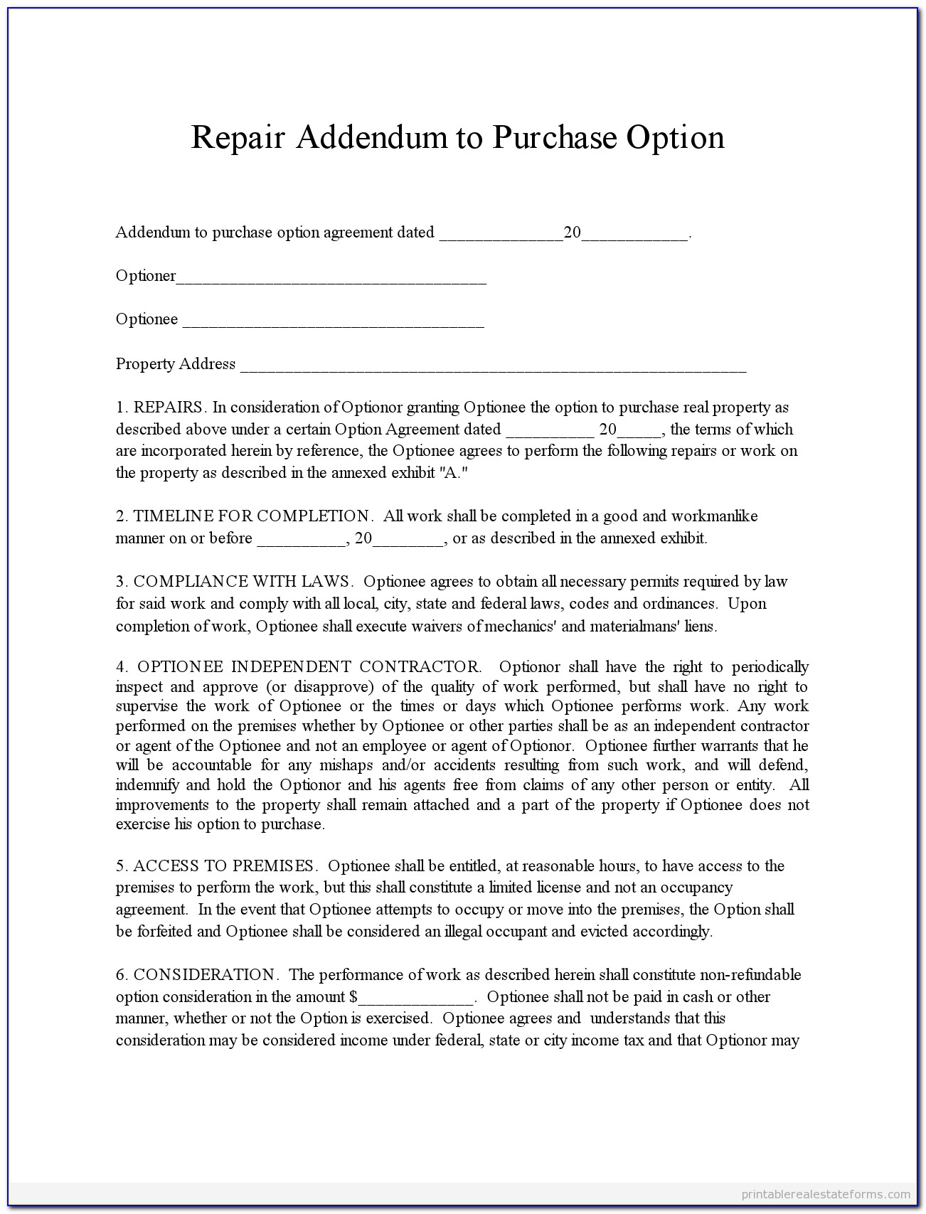 Contract Addendum Template Sample
