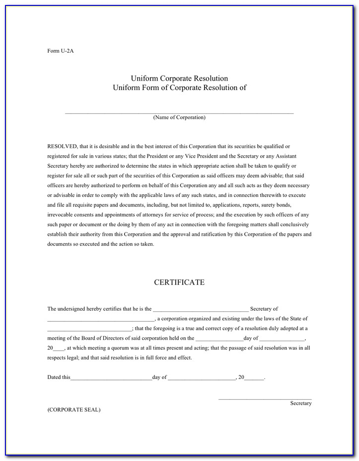 Corporate Resolution Template Signing Authority
