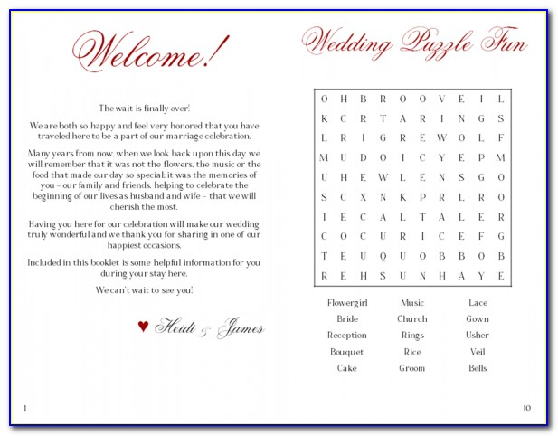 Cruise Wedding Welcome Letter Template