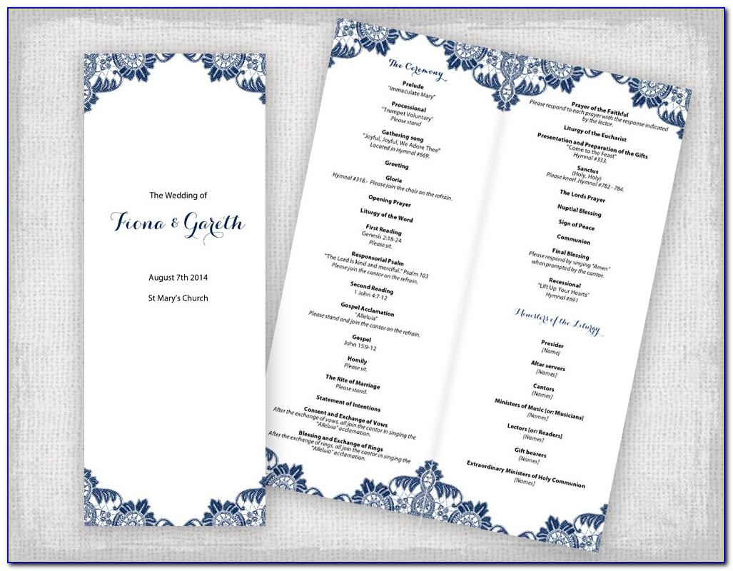 Diy Catholic Wedding Program Template