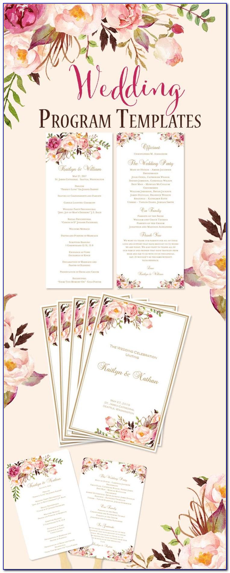 Diy Tri Fold Wedding Program Template