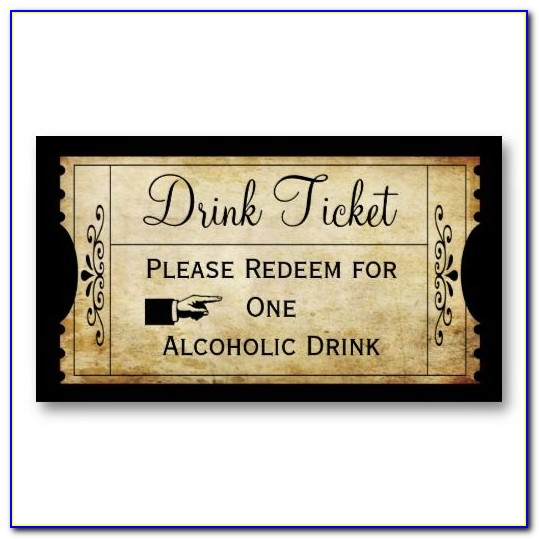Drink Ticket Template Wedding