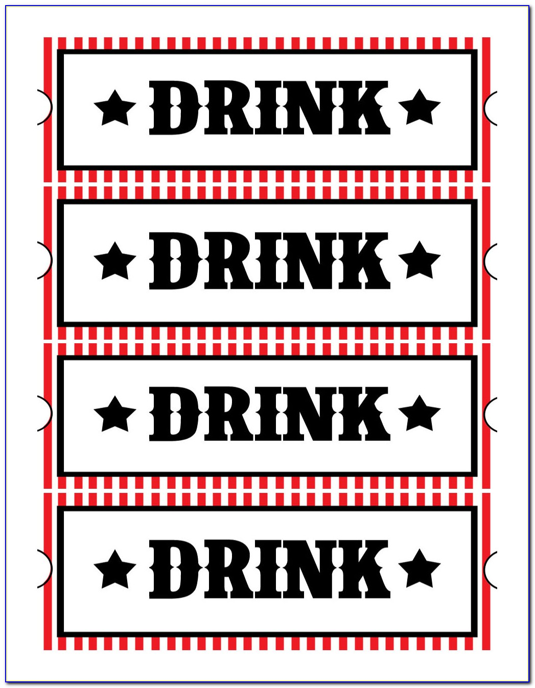 Drink Ticket Template Word