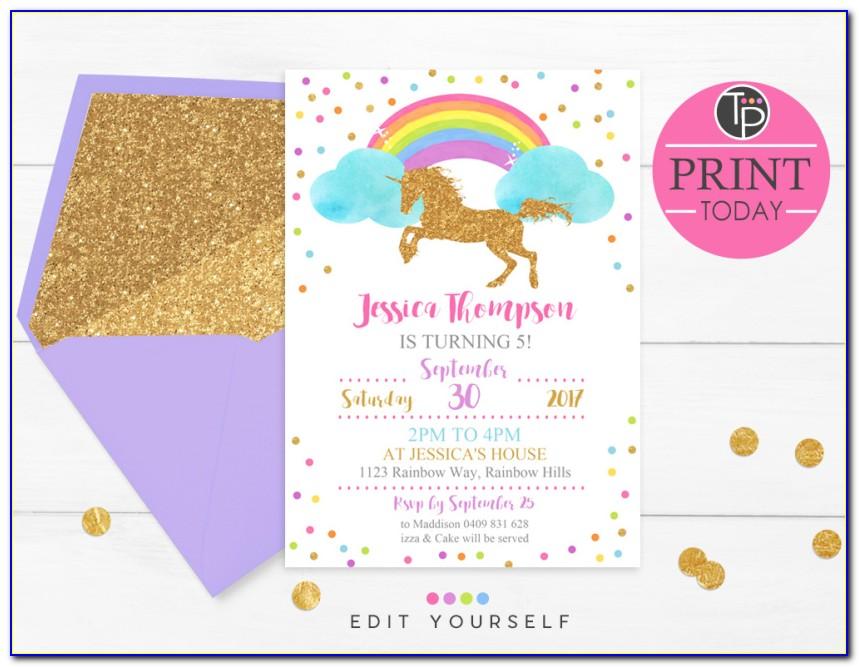 Editable Unicorn Invitation Template Free