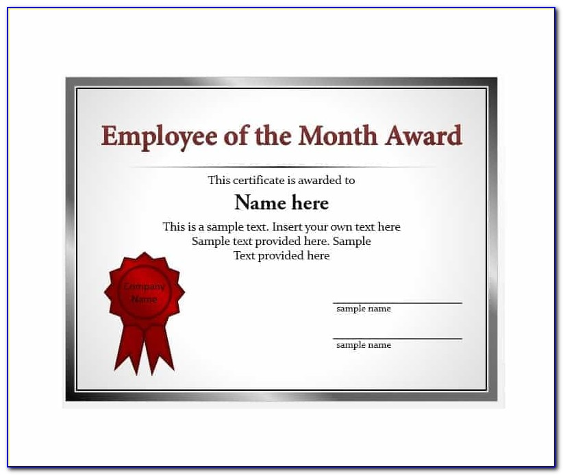 Employee Of The Month Certificate Template Pdf