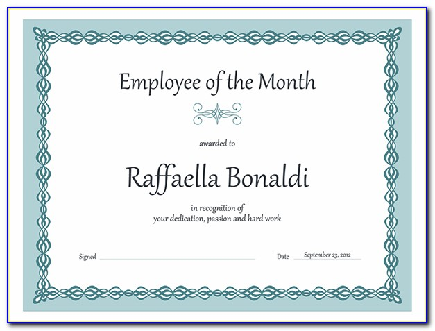 Employee Of The Month Certificate Template Powerpoint