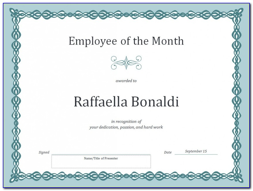 Employee Of The Month Certificate Template Word Freeg