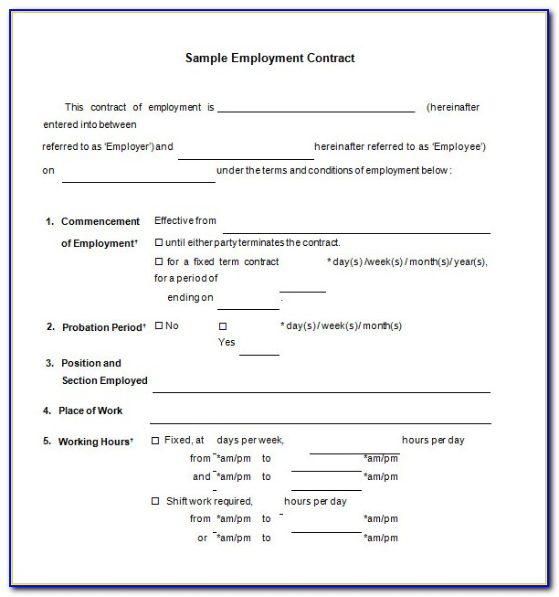 Employment Contract Template Word Uk