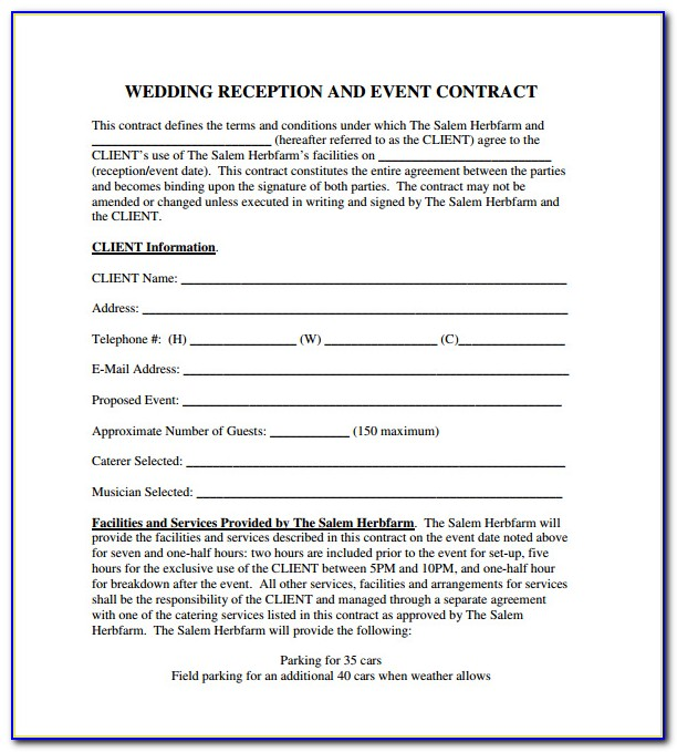 Event Planner Contract Form