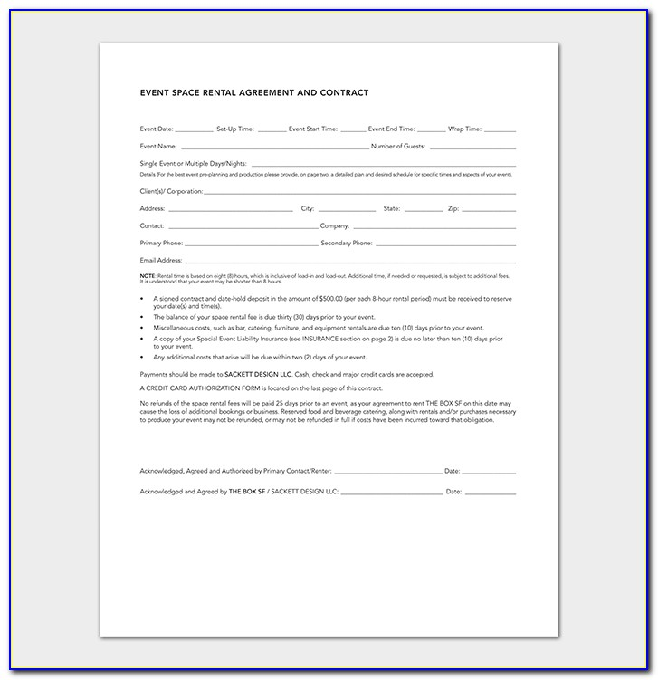Event Planner Contract Format