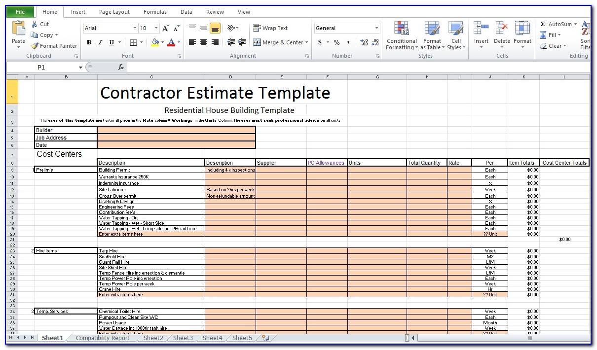 Excel Construction Estimate Template Download Free