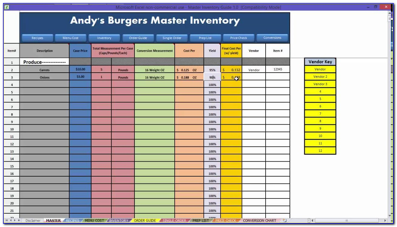 Excel Inventory Template With Formulas Pdf