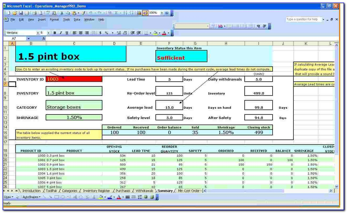 Excel Warehouse Inventory Template With Formulas