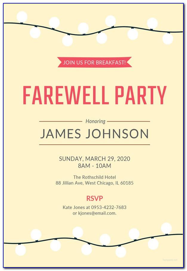Farewell Invitation Template Psd