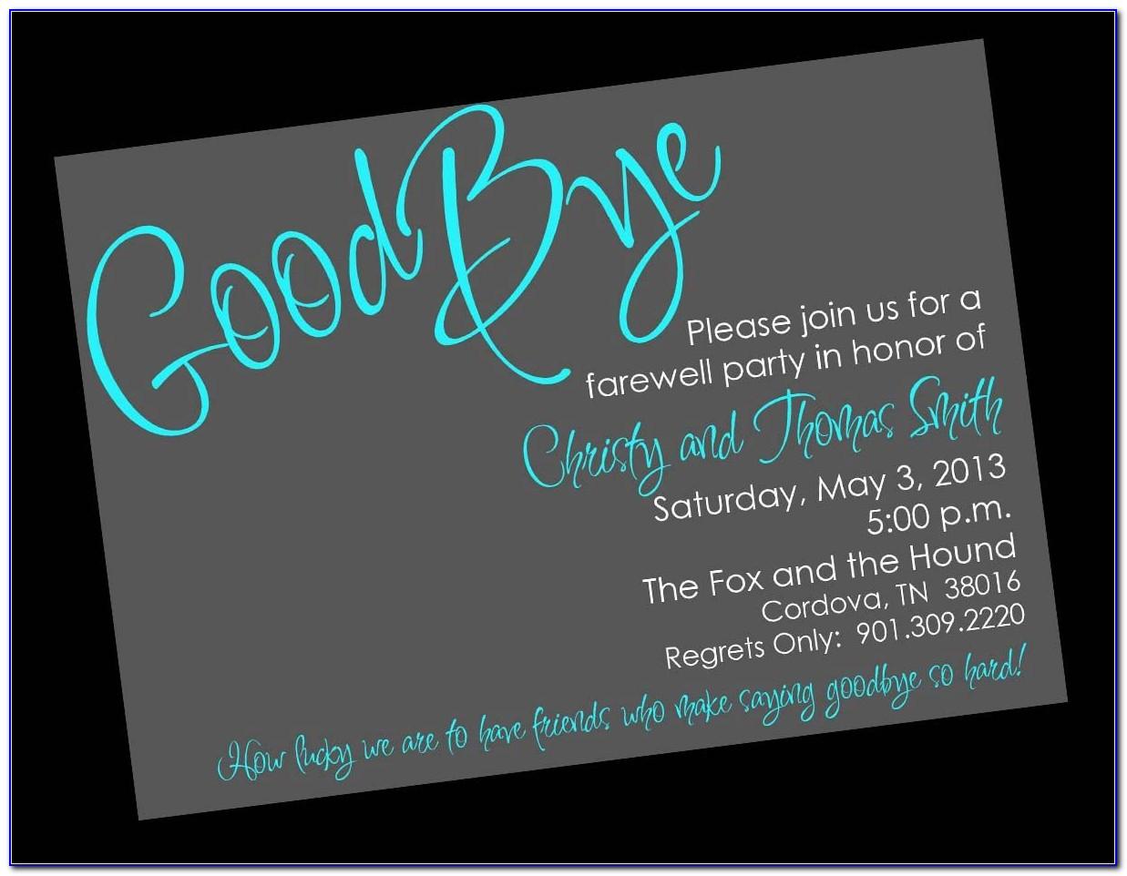 Farewell Invitation Template Word