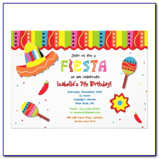 Fiesta Birthday Invitations Templates Free