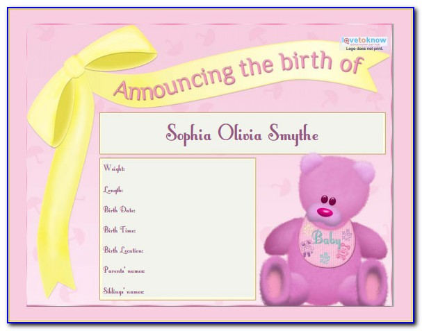 Free Baby Birth Announcement Template