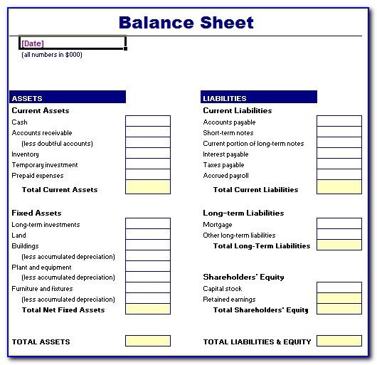 Free Balance Sheet Template Uk