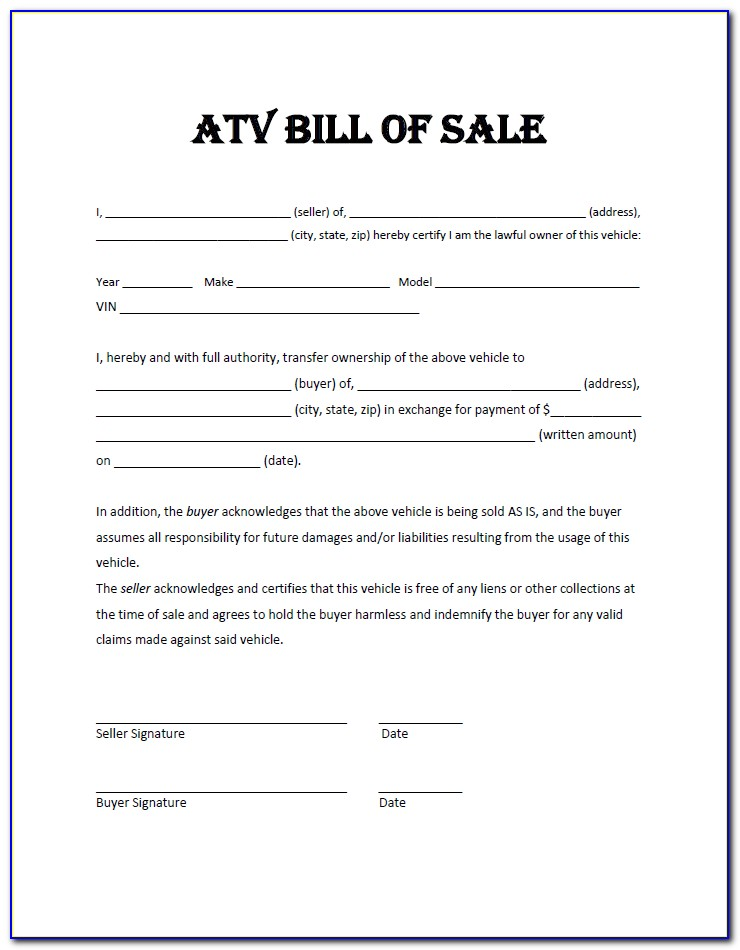 Free Bill Of Sale Word Document