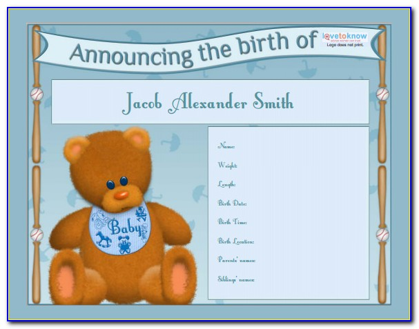 Free Birth Announcement Templates Photoshop