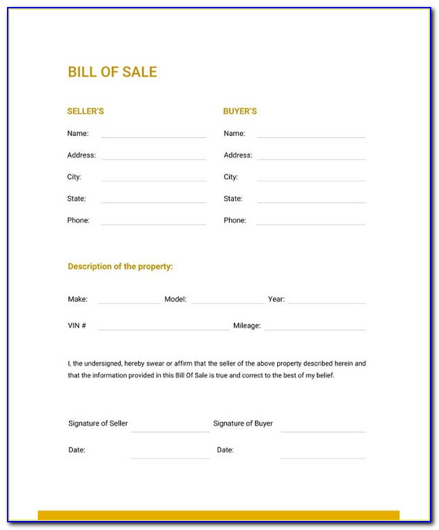 Free Boat Bill Of Sale Template Word