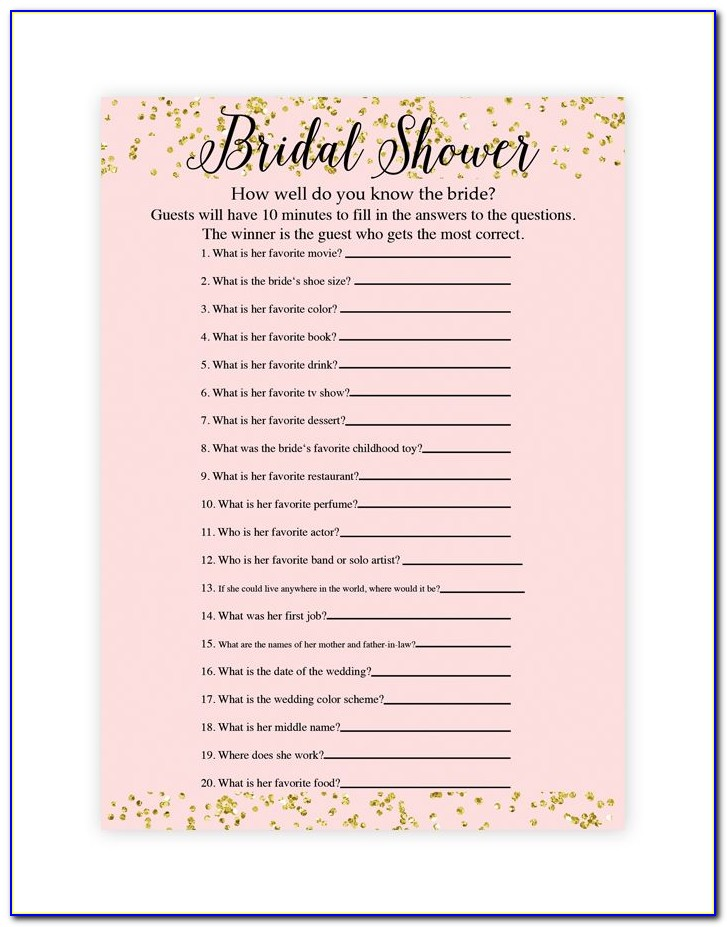 Free Bridal Shower Templates Games