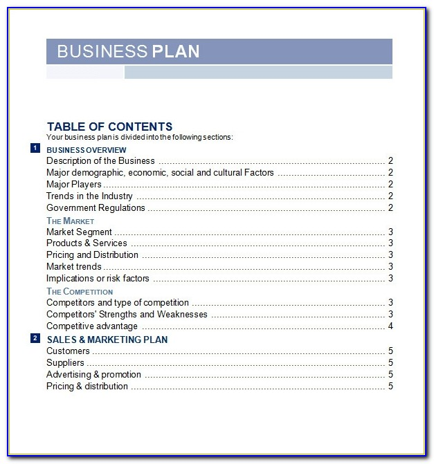 Free Business Plan Template Word South Africa