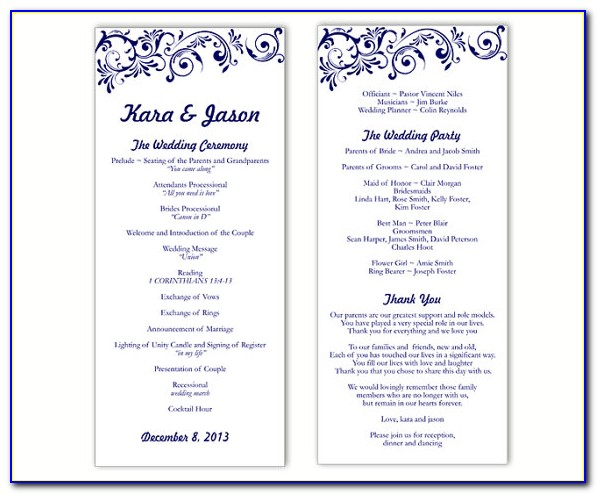 Free Catholic Wedding Program Templates For Microsoft Word