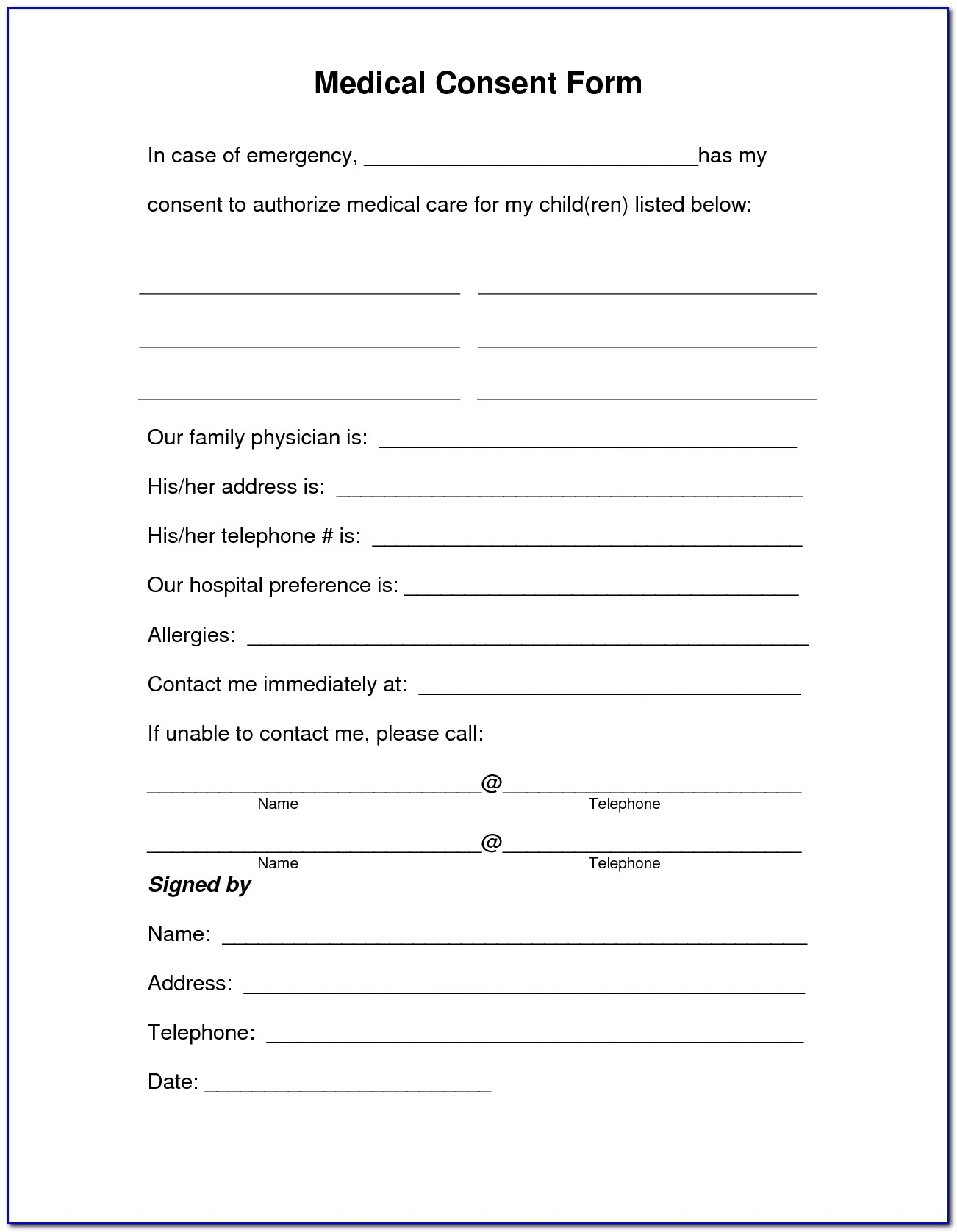 Free Child Domestic Travel Consent Form Template