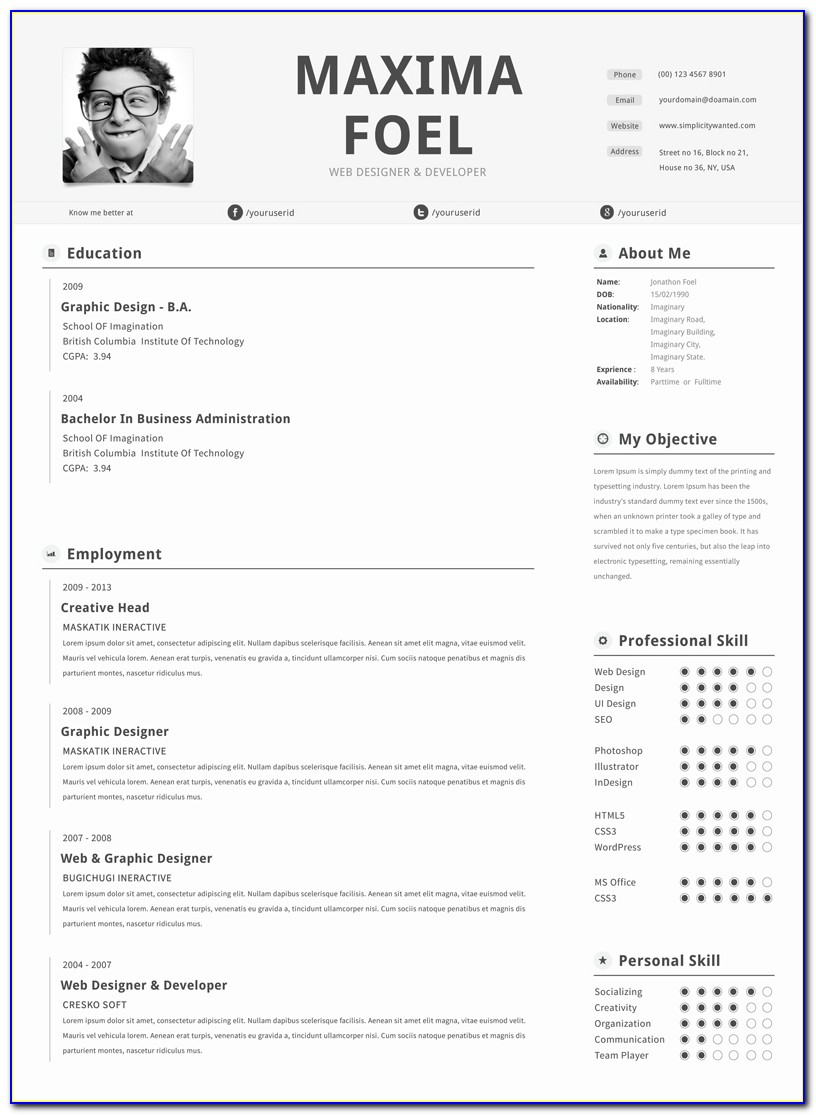 Free Creative Resume Templates For Pages