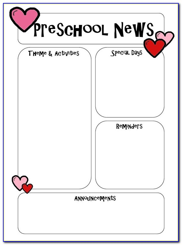 Free December Preschool Newsletter Templates