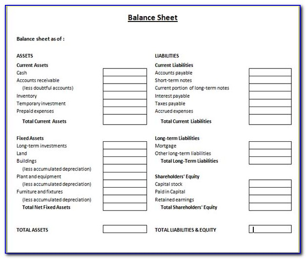 Free Download Balance Sheet Template Excel