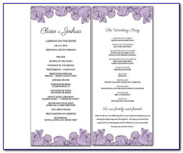 Free Downloadable Wedding Program Fan Templates